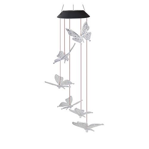 ALLOMN Solar Windspiel, Garten Dekoration Licht RGB Multi-Color Allmähliche Änderung, Sechs Schmetterling Wasserdicht Automatische AN/AUS Großes Geschenk für Weihnachten Valentinstag (Transparenter)