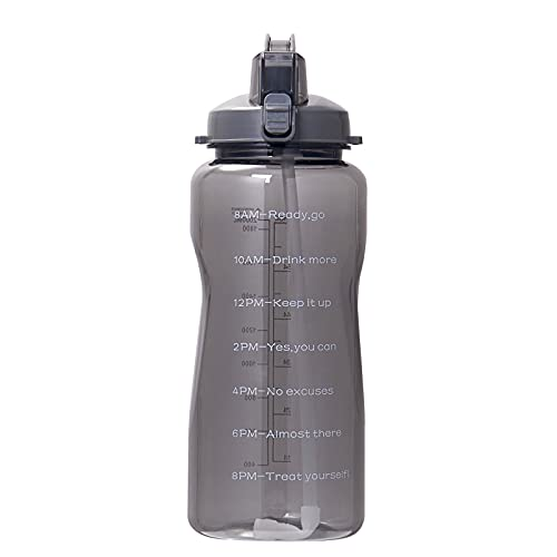 QAZW 64oz Motivational Water Bottle with Time Marker, Leakproof Fast Flow BPA Free Water Jug to Remind You Drink More Water,Black-128OZ