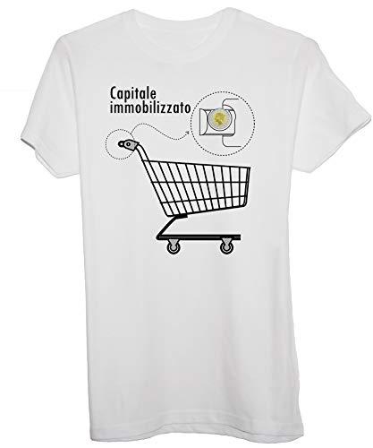 New Indastria T-Shirt Carrello della Spesa 500 Lire Capitale Immobilizzato - Cult Divertente - Donna-M-Bianca