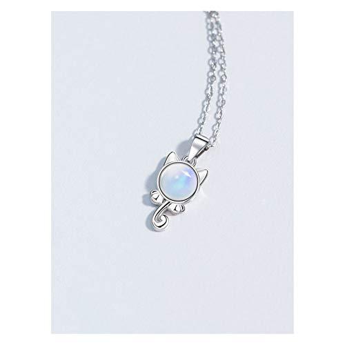 MASHUANG Moda Collar de Plata de Ley 925 para Mujeres, Colgante de Piedra Lunar, Esposa Mamá Chicas Cumpleaños, Navidad, 45 cm / 17.7