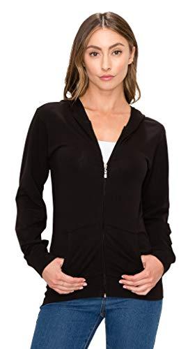 Women's Full Zip Hoodie Jacket - Slim Fit Lightweight Long Sleeve Casual Hooded Zip Up Sweatshirt Athletic Workout SJ4001 Black XL