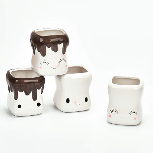 Cute Marshmallow Shaped Mugs Hot Chocolate Cocoa Mugs Marshmallow Mugs Set of 4 Ceramic Marshmallow Cups Set for Kids Girls Women Friends 5 Oz