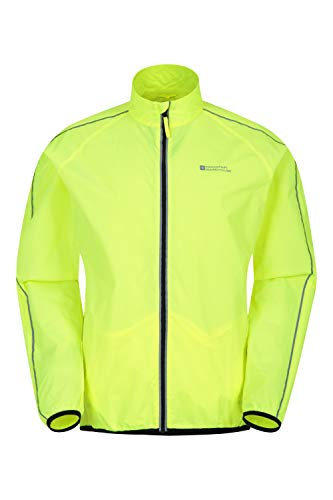 Mountain Warehouse Force Mens Water-Resistant Running Jacket - Unisex Rain Jacket, Mesh Panels Raincoat, Scooped Back -Best for Running, Cycling Yellow XL