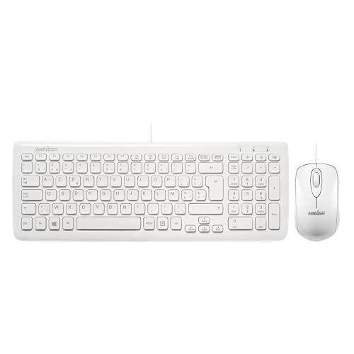 Perixx PERIDUO-303W - Conjunto compacto de teclado y ratón con cable USB...
