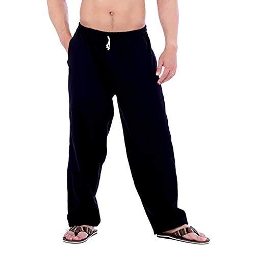 MINIKIMI Harembroek mannen grote maten linnen broek Baggy vrijetijdsbroek comfortabele bermudabroek streetwear hippie broek duinen sportbroek met zakken