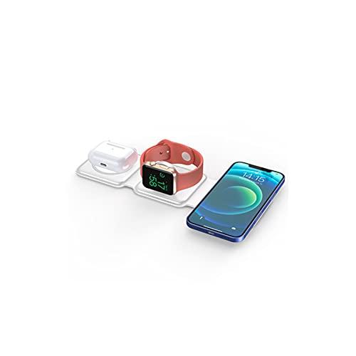 QXIAO Almohadilla de Carga Inalámbrica,Cargador Doble Magnético 2 en 1 Plegable Bidireccional de 15W para iPhone 12 Mini / 12 Pro / 12 Pro MAX / 11 Series/X/XR, AirPods Pro