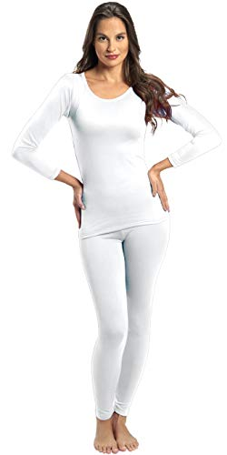 Rocky Thermal Underwear for Women Fleece Lined Thermals Women's Base Layer Long John Set (White - Midweight - XX-Large)