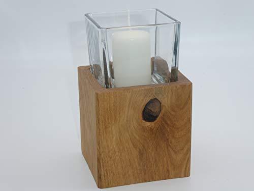 Die Gartenbeet-Kiste Windlicht Holz Eichenholz Kerzenständer Massivholz Herbstdeko