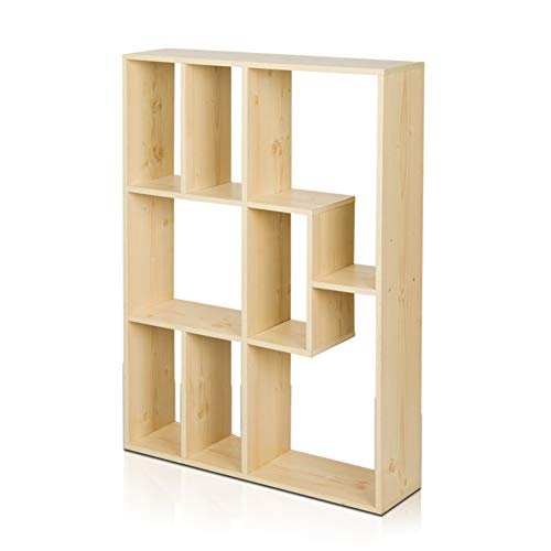 HM&DX Holz Bücherregal Bücherschrank 8-Cube Aufbewahrungsregal Vielseitige Bücherregal wandregal Vitrinen Für Home Office-Ahorn