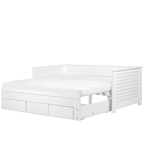 Beliani Klassisches Tagesbett ausziehbar Gummibaumholz weiß Cahors