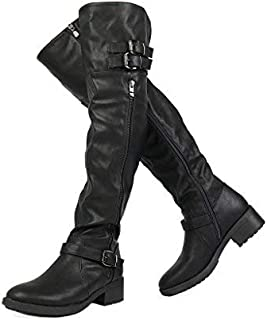 5871c58bf2b Amazon.com  Lace-up - Over-the-Knee   Boots  Clothing