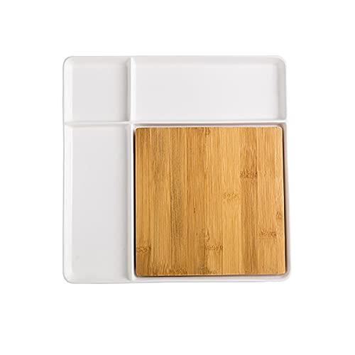 Wyxy Plato Separador de cerámica de 10 Pulgadas Plato de celosía para niños con 4 Compartimentos divididos Plato con Bandeja de tablones Desmontable Vajilla práctica para Restaurante en casa