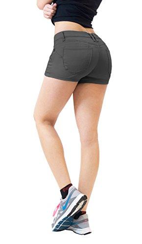 Hybrid & Company Womens Butt Lifting Twill Denim Shorts-SH43308X-GUN METAL-14