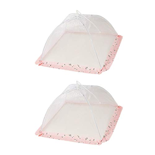 2Pcs Large Pop-Up Mesh Food Covers Tent Umbrella Reusable and Collapsible Screen Net Protectors for Outdoors Parties BBQs Keep Out Flies Bugs Mosquitoes Food Cover (Pink square, 43 * 43cm)
