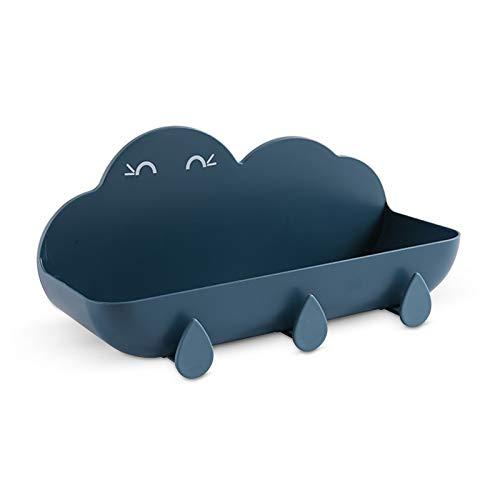 Mousyee Estante de Ducha, Estante Ducha sin Taladro Organizador de Ducha Sin Taladro con Forma de Nube con Tres Ganchos Fuerte Capacidad de Carga a Prueba de Humedad sin Agua Acumulada (Azul Profundo)