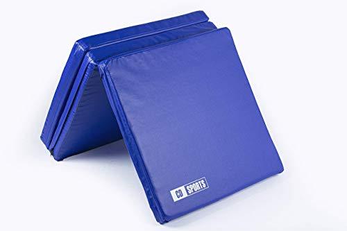 CalmaDragon 85620 Colchoneta Gimnasia Espuma PU Impermeable Alfombra de Protección en 3 Paneles Plegables Grosor 6 Cm (60x180x6cm) (Azul)