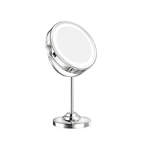 Kosmetikspiegel mit LED Beleuchtete und 1-/ 5-facher Vergrößerung Schminkspiegel mit Licht 360° Schwenkbar Tischspiegel Batterien Doppelseitiger Make-Up-Spiegel mit Blendfreier Beleuchtet Verchromt
