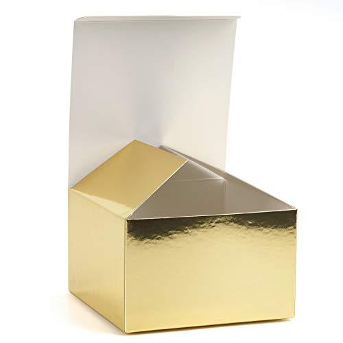 RUSPEPA Caja De Regalo Caja De Cartón con Tapas para Pulseras, Joyas Y Pequeños Obsequios - 15,5 X 15,5 X 10,5 cm - Paquete De 20 - Lámina Dorada