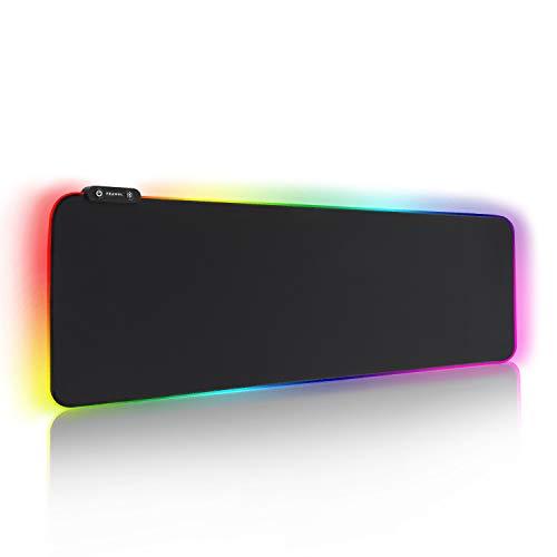 Reawul Alfombrilla de Ratón RGB Extra Grande, tapete de Juego de Microfibra para Computadora Extended con Luces, Base de Goma Impermeable y Antideslizante para Gamers y Portátiles - 800 x 300 x 4 mm