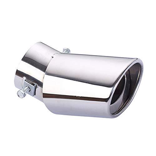 KKmoon Walmeck Universele uitlaatdemper buigen enkele pijp zilver auto uitlaat uitlaatsystemen voertuig staal eindpijp auto ombouw toebehoren uitlaatpijp