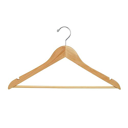 Econoco Commercial Flat Wooden Hanger with Chrome Hook and Wooden Bar, 17', Natural (Pack of 100)