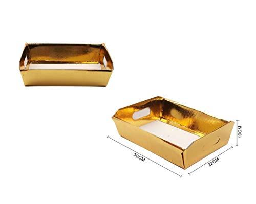 Takestop® Cesto Vassoio Rettangolare Oro Argento In Carta Confezioni Regalo CESTI Fai Da Te Natale Decorazione Regali Pacco (30X22X10 Cm, Oro)