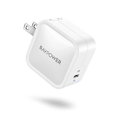 充電器 type-c RAVPOWER (PD対応/61W/超コンパクトサイズ/軽い) 折りたたみ式プラグ PSE認証済 GaN採用 iPhone 12 / 12 Pro / 11 / XR / 8 、Galaxy S10 / S10+、MacBook、iPad Proその他USB-C機器対応