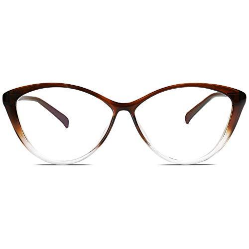 SOJOS Blaulichtfilter Brille Damen Cateye Computer Brille ohne Sehstärke Anti-Blaulicht Gläser Übergroß SJ5057 mit Klares Braun Rahmen/Anti-blaulicht-linse
