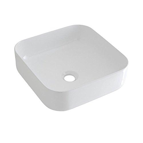 Hudson Reed Milton Lavabo d'Appoggio Quadrato per Bagni - Lavandino Bagno con Design Moderno - Ceramica Bianca - Senza Fori per la Rubinetteria - 400 x 400 x 140mm