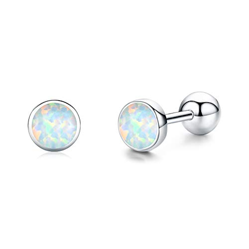 Screw Back Earrings for Teens Tiny Opal Stud Earrings for Women 925 Sterling Silver Hypoallergenic Earring for Sensitive Ear Christmas Birthday Gifts for Teenager Ladies
