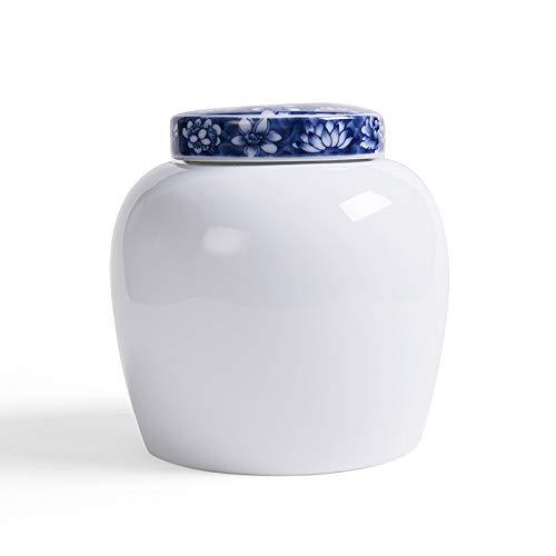 Tetera de porcelana blanca alta, caja de bolsa de té grande de cerámica, lata sellada, jarra azul y blanca, medio personalizado, tapa blanca, azul alta, azul, té suelto, aproximadamente medio gato
