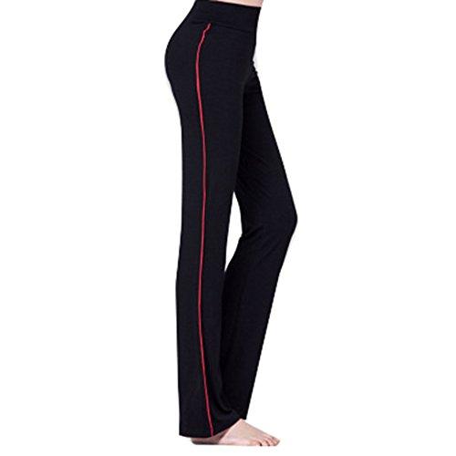 juqilu Pantalon Yoga Pantalon pour Femmes Taille Haute Pantalon évasé avec Bandes Latérales Décontracté Élastique Doux Pantalon de Fitness Course