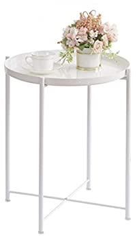 OVICAR Metal Tray End Table Round Accent Coffee Side Table Anti-Rust and Waterproof Outdoor Small Side Table Indoor Modern Sofa Side Table Bedside Table for Living Room Bedroom Balcony  White