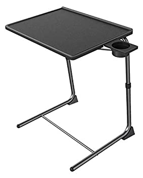 Adjustable TV Tray Table - TV Dinner Tray on Bed & Sofa Comfortable Folding Table with 6 Height & 3 Tilt Angle Adjustments  Black