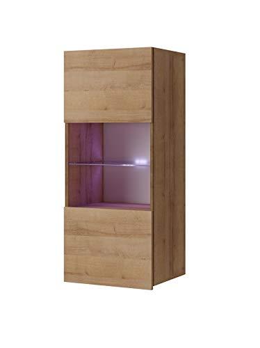 Domtech – Armario de pared para colgar en la pared, armario de vitrinas, armario alto, color blanco brillante