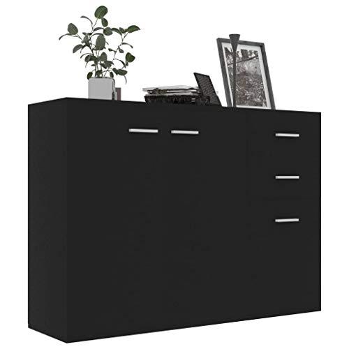 Irfora Sideboard Kommode Mit 2 Türen und 3 Schubladen Standschrank Mehrzweckschrank Büromöbel Schwarz/Sonoma-Eiche/Weiß Sonoma-Eiche 105 x 30 x 75 cm Spanplatte