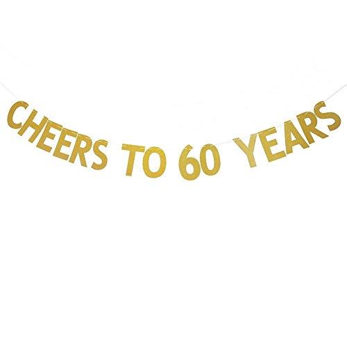 Veewon Salutations à 60 ans Banner Gold Glitter Letters Garages de Bunting 60ème Anniversaire Anniversaire Party Photo Prop Decor