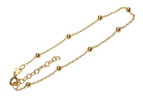 SILBERMOOS Pulsera para mujer chapada en oro, pulsera Rolo, con bolas, de plata diamantada, 18 cm + extensión, plata de ley 925