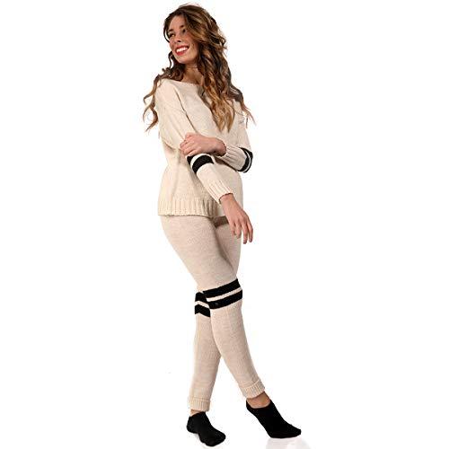 YC Fashion & Style Damen Lounge Set Pullover mit Leggings in Strick Qualität Outfit Jumper für Herbst und Winter (One Size, Beige)