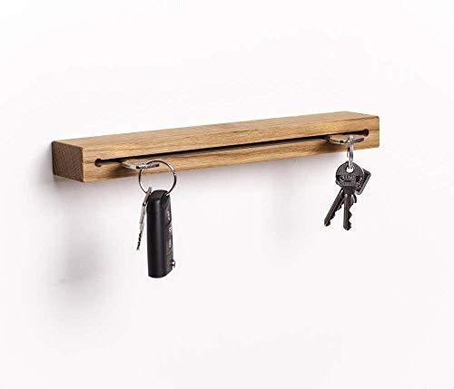 WOODS Schlüsselbrett Holz mit Ablage I Nut - Schlüsselhalter modern I Wanddekoration aus Holz handgefertigt in Bayern I Schlüsselleiste Landhaus Design I Schlüsselboard aus Holz (Eiche, 20 cm)