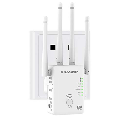 GALAWAY WiFi Range Extender, Internet Signal Booster Wireless Repeater 2.4GHz 5GHz Dual Band Up to 1200 Mbps 4 Antennas 360 Degree Full Coverage