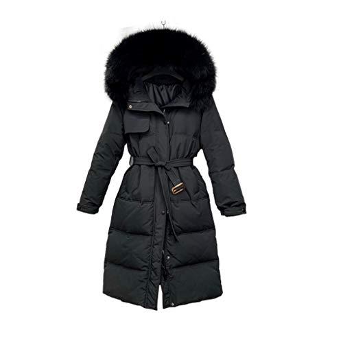 Parkas Chaqueta de la chaqueta de la camufladora de las mujeres con el abrigo espesado del invierno del abrigo de imitación con capucha de piel sintética delantero ( Color : Black , tamaño : Medium )