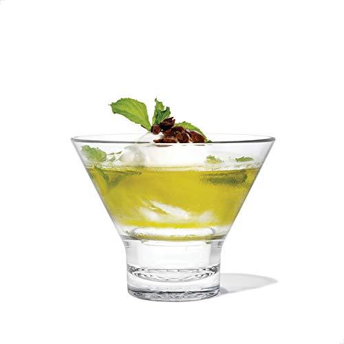 TOSSWARE RESERVE 8oz Stemless Martini Glass, SET OF 24, Tritan Dishwasher Safe & Heat Resistant Unbreakable Plastic Cocktail Glasses, Clear