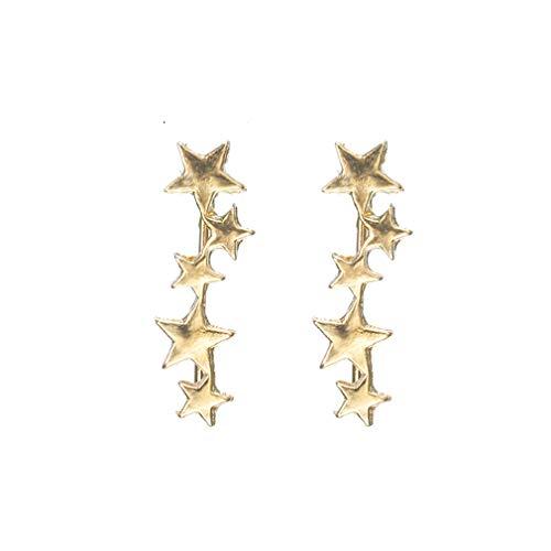 Weiy Climber Star Studs Triple Star Stud Earrings Sweep Up Ear Climber Cuff Wrap Crawler para niñas, Aleación, dorado, 2.3*0.7cm
