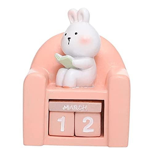 FLAMEER Bloques de Calendario de Escritorio Cubos duraderos Calendario de Mesa Calendario perpetuo de Resina para decoración del hogar, Oficina - Conejo