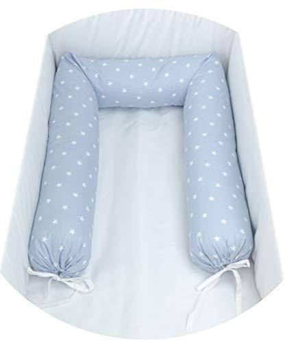Babysanity Nestchen für Kinderbett, 190 x 24 cm, Größe XL + Schnürsenkel Fantasia stellina cielo