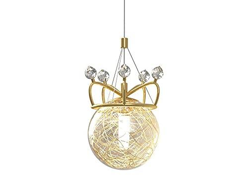 DSYADT Iluminación Colgante Candelabros De Corona Chapados En Oro Fuente De Luz G9 Luminaria De Techo Moderno Simple Pantalla De Acrílico Esférica De Una Sola Cabeza Luminaria De Techo