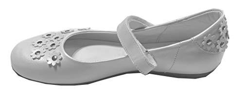 Däumling Mädchen Ballerina, Kommunionschuhe, Kommunionsschuhe, Kommunionballerina, Halley, Perlato weiß, mittel 36