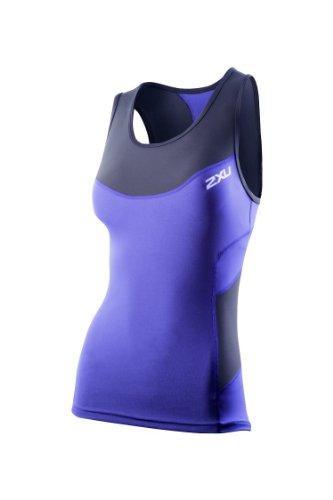 2XU Women's Compression Triathlon Singlet, Navy/Northern Lights Blue, Medium