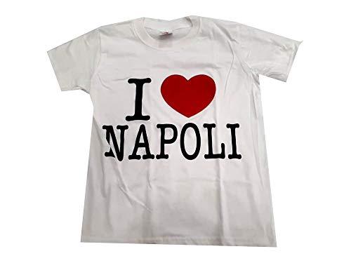 maglia napoli buitoni T-Shirt Bianca Maglia I Love Napoli col Cuore Rosso Diverse Taglie 9-11